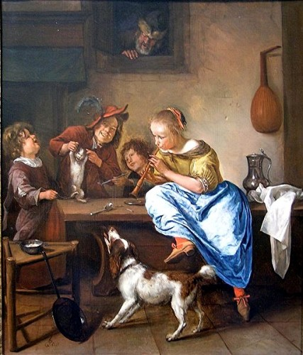 Jan_Steen - ennfants aprenant à dancer à un chat-1666-rijksmuseum.jpg